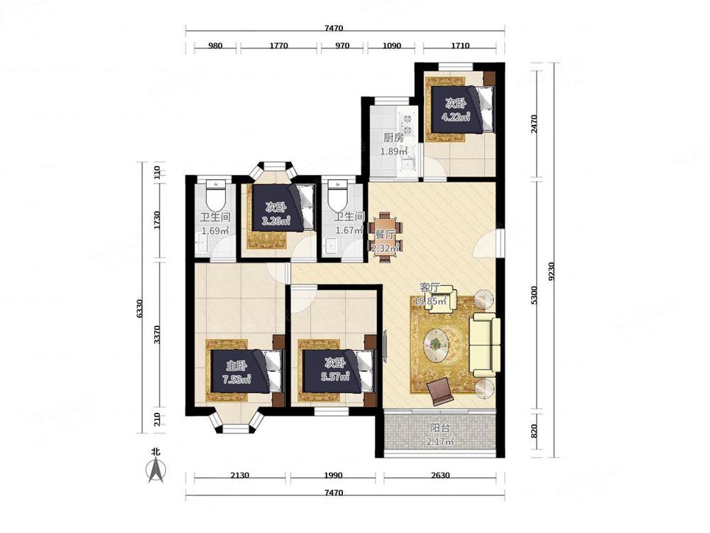 欧陆经典 板式结构 大三房 可改四房 南北通