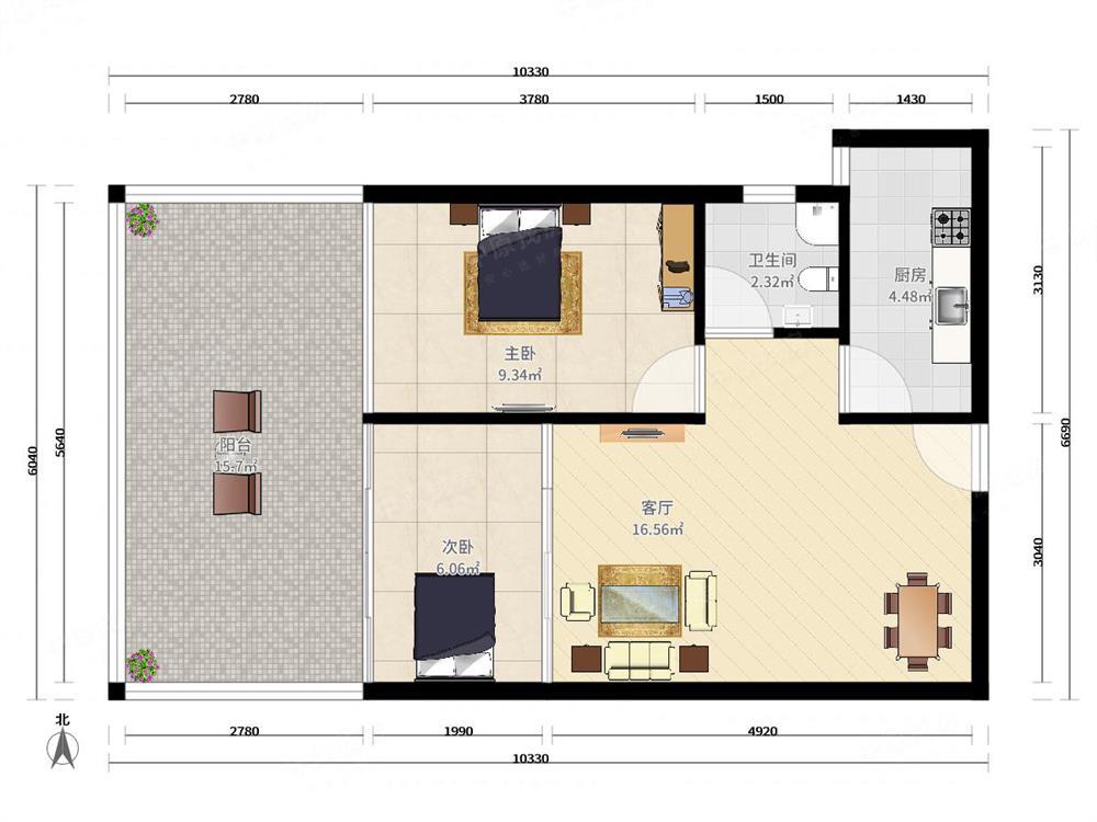 大运新城 50平一房一厅 可改大两房 户型方正 赠送面积多