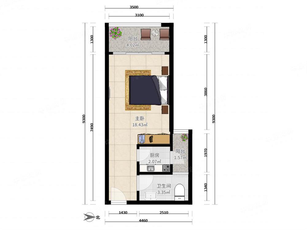 蛇口四海公寓 西向单间带阳台 看四海公园 有钥匙