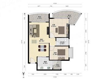 棕榈湾精装修2房 户型方正实用 双阳台 可以改3房