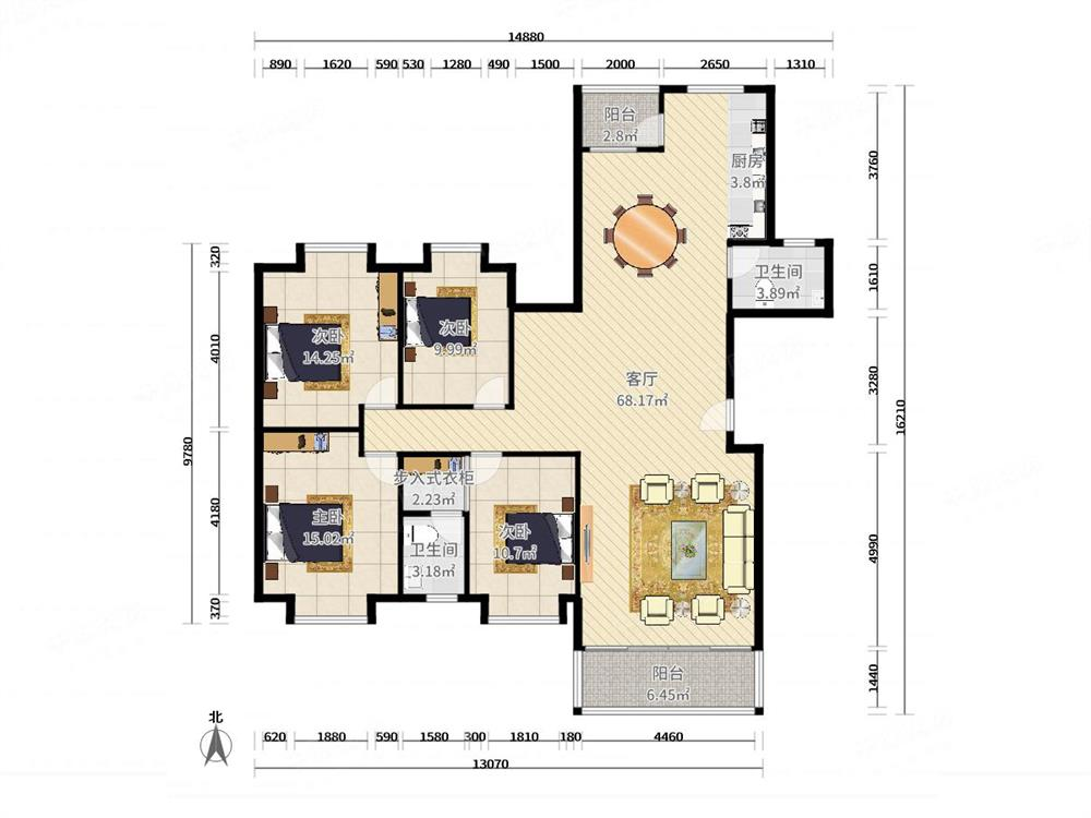 重实验学校180平,豪装大4房,南北通透,满五税少,安静宜居