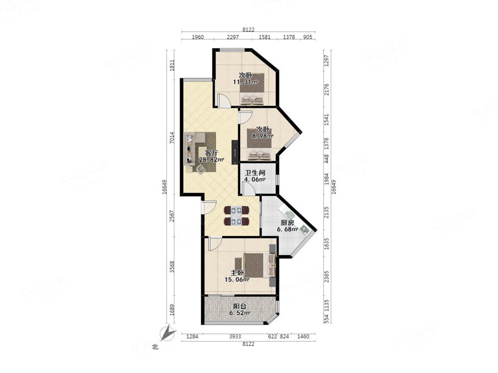 园岭新村,好户型实用三房,带两个阳台,三面采光,红本在手满五