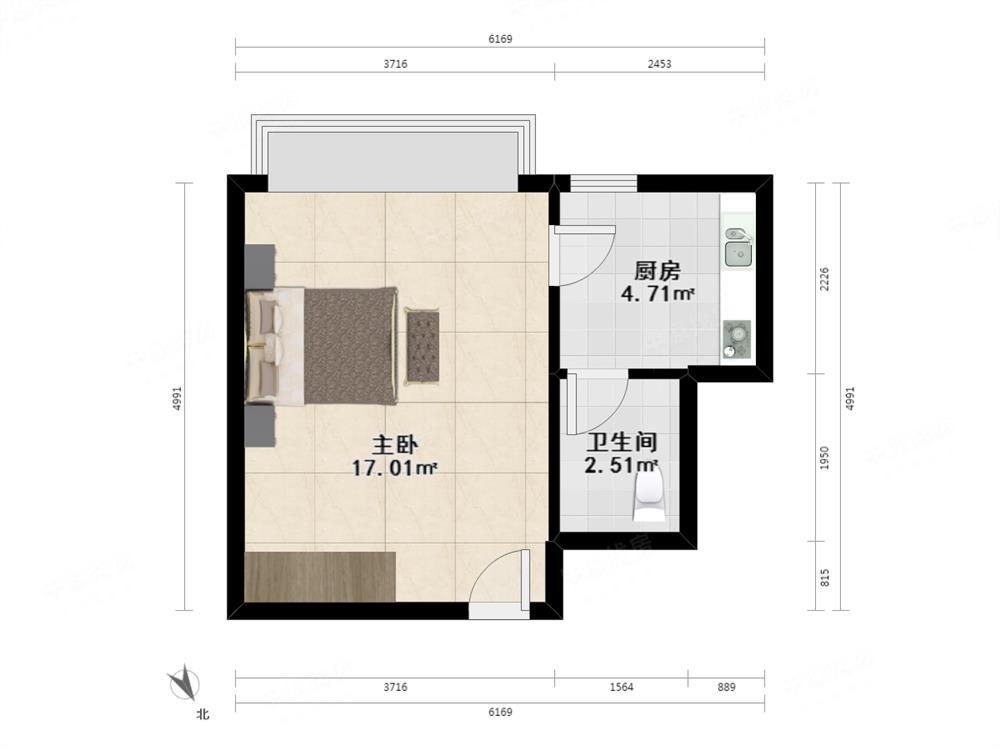 少有单间放卖, 户型方正,超实用,可改1房1厅
