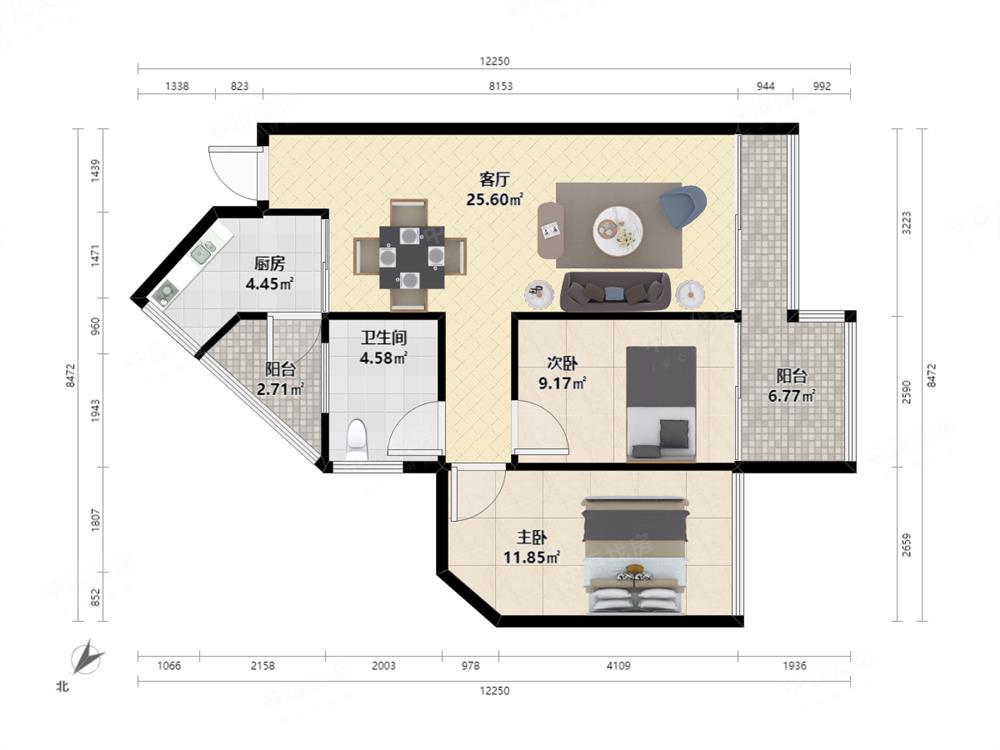 精装修标准 2室2厅 星海名城(五期) 居家安静看花园