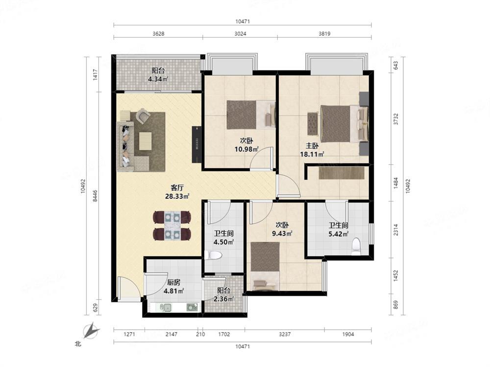 万科公馆,精装3房,南向,业主诚心出售,看房有钥匙