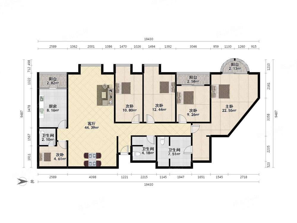 万科俊园豪华装修四房 带翠竹小学学位 红本满五年 高楼层